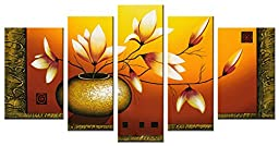 Wieco Art - Extra Large Golden Bottle Elegant Flowers Modern 5 Panels 100% Hand Painted Abstract Floral Oil Paintings on Stretched and Framed Canvas Wall Art Ready to Hang for Home Decor