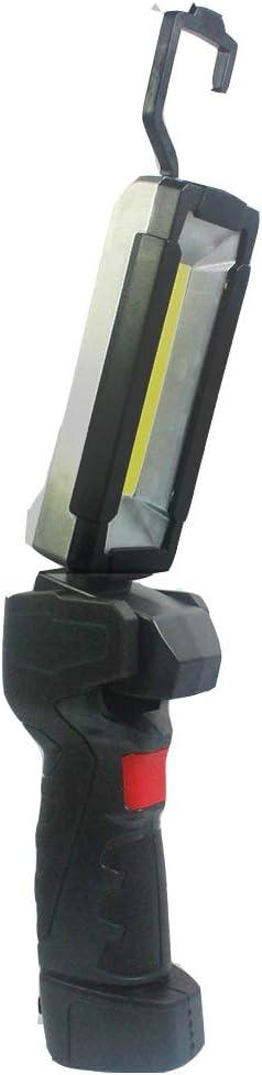 LED Flip Inspection Work Light USB Rechargeable Cordless Handheld COB + LED Working Flashlight w/Magnet Hanging Hook Base 5 Modes Multi Angle Lighting Compact Non-Slip Design (Black)