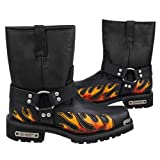 Xelement 1490 Mens Black Harness Motorcycle Boots with Flame - 9