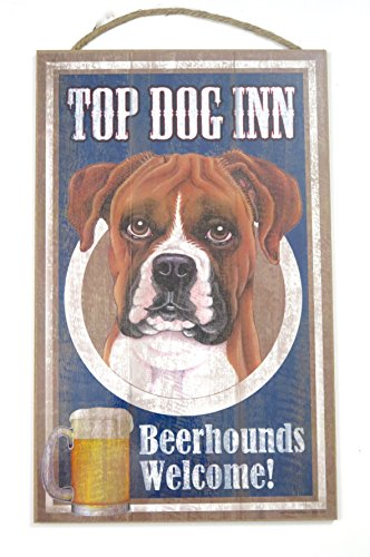 White Boxer Pictures - Boxer, Top Dog Inn, Beer Hound Sign, Dog Lovers Gift, 10 X 15 Wood Sign,wall Decor, Brown,White