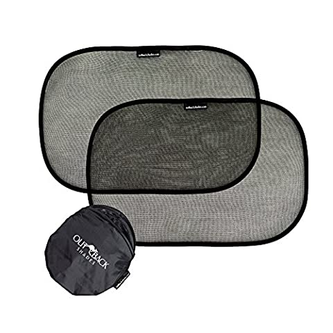 Car Window Shade (2 Pack) - Premium Baby Car Shade by Outback Shades- Easy Use Window Shades for Car Side Windows to keep car cool - Blocks 97% UV Rays - With Storage