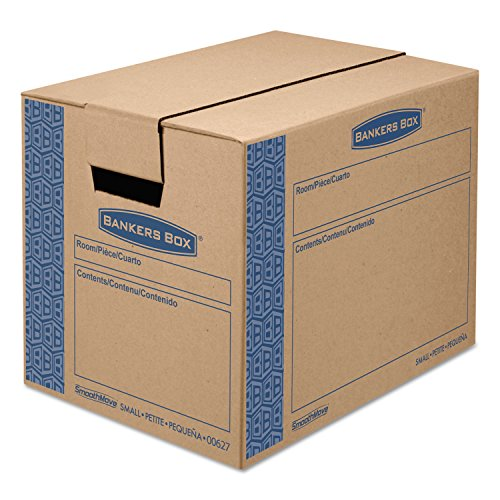 Bankers Box 0062701 SmoothMove Prime Small Moving Boxes, 16l x 12w x 12h, Kraft/Blue, 10/Carton (For Lamps Bankers Sale)