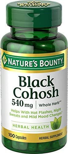 Nature s Bounty Black Cohosh Root Pills and Herbal Health Supplement, Natural Menopausal Support, 540 mg, 100 Capsules