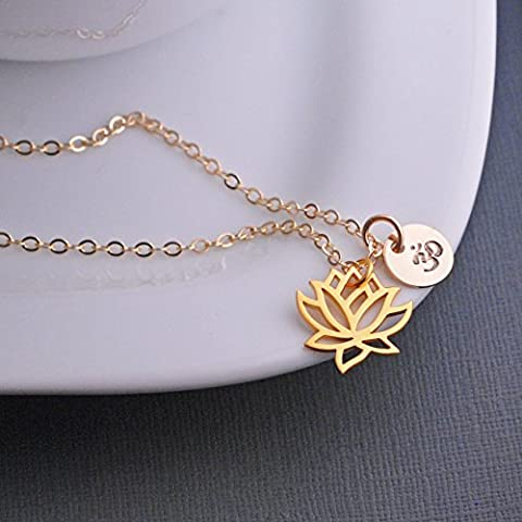 Gold Lotus Necklace with Om Symbol Yoga Jewelry