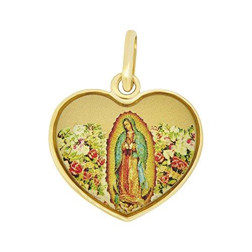 14k Yellow Gold, Colorful Enamel Virgin Mary Religious Medal Charm Heart Pendant