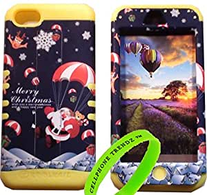 Cellphone Trendz Hybrid Rocker Case for Apple iPhone 5C - Yellow Silicone with Hard Black Santa Claus Reindeer Christmas Gift
