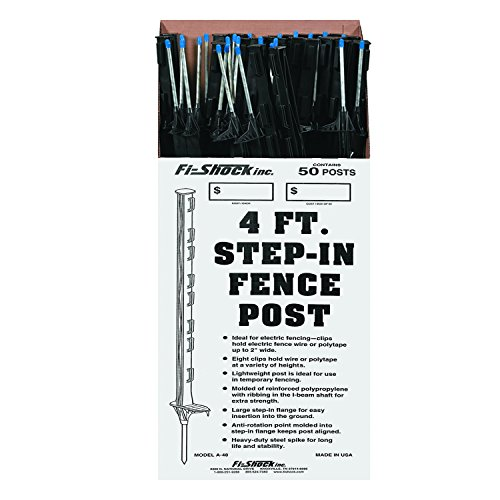 Fi-Shock A-48B 4 ft. Black Step-In Fence Post - 50 Posts Included (Fencing Post Wire)