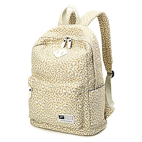 Preppy Large For Students White Travel School Style Capacity Women Backpack Leopard Bag Backpack Print Moollyfox qXw7Oatz