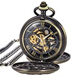 Pocket Watch Skeleton Mechanical Double Case Hand-wind SIBOSUN Bronze Roman Numerals Antique Chain Box