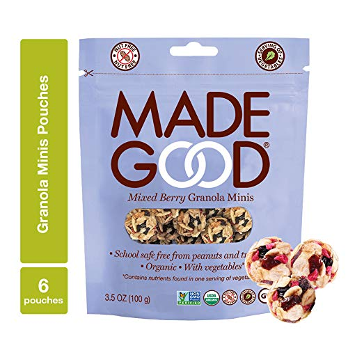 MadeGood Mixed Berry Granola Minis, 6 Pouches (3.5 oz each); Organic, Gluten Free, Allergy Friendly, Non-GMO, Nut Free, Crunchy Yet Chewy Granola Clusters of Oats and Berries