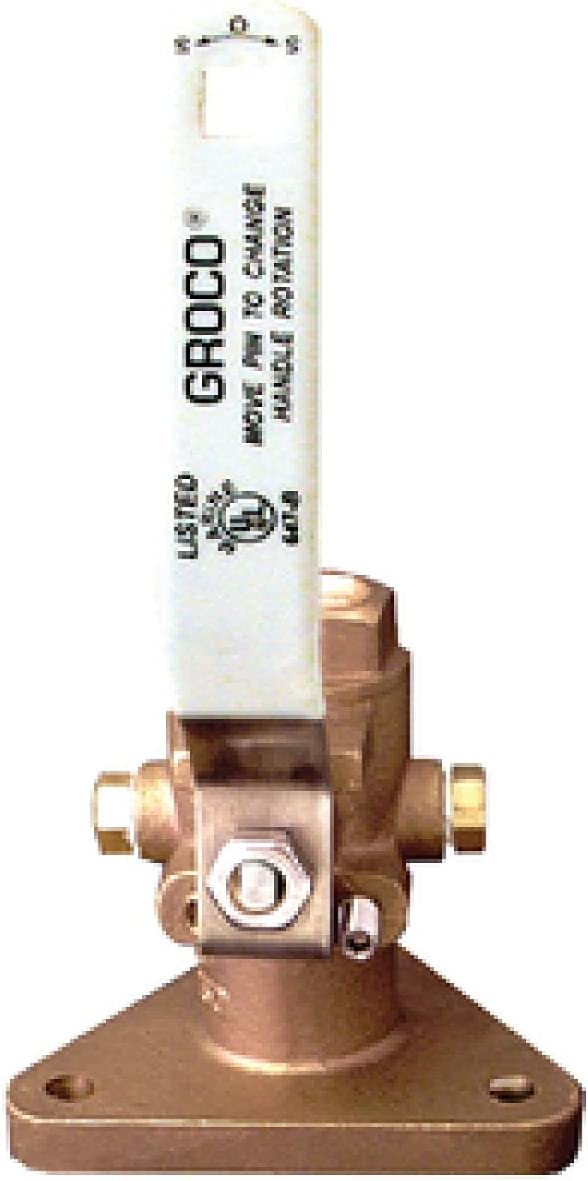 "Groco Fbv-1000 1/"" Bronze Tri-Flanged Ball Valve//Seacock"