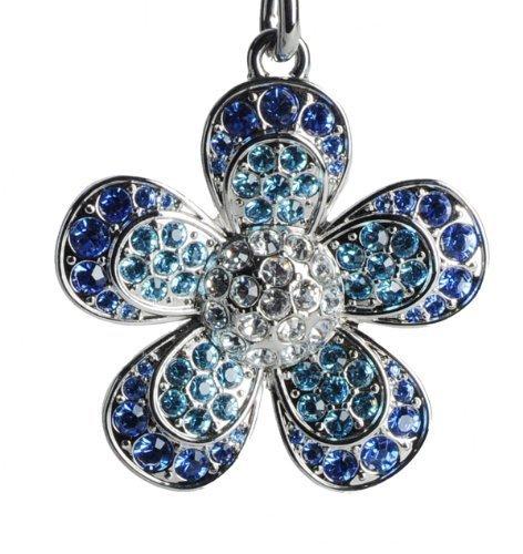 Lilly Rocket Two-tone Blue Rhinestone Flower Key Chain with Swarovski Crystals