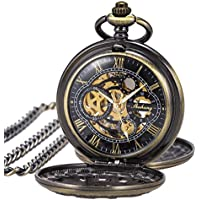Pocket Watch Skeleton Mechanical Double Case Hand-Wind SIBOSUN Bronze Roman Numerals Antique Chain Box