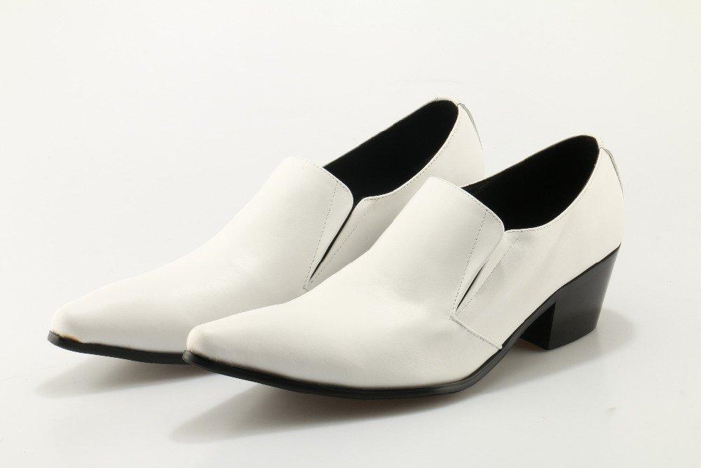 LHLWDGG.K Zapatos De Punta De Tacón Alto De Hombre De Cuero Blanco, Zapatos De Boda, 6 6