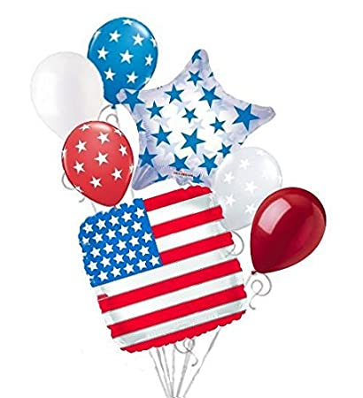 7 pc Patriotic American Flag Square Balloon Bouquet USA 4th July Veterans Day