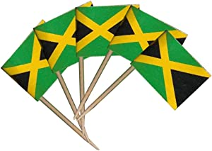 Tectsia 100Pcs Jamaican Toothpick Flags, Small Mini Stick Jamaica Fruit Cake Topper Flag for US Military Day Party Events Celebration Supplies, Birthday Wedding Dinner Decorations