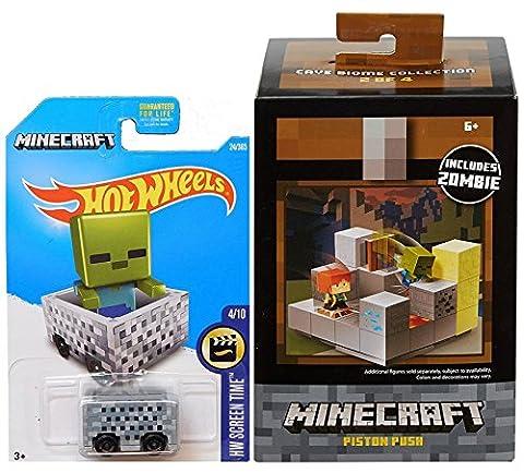 MineCart Hot Wheels & Piston Push Cave Biome Zombie Character Mini-Figure Collector Environment Set (Mini Mine Craft Characters)
