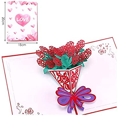 ZHOUBIN Exquisito amor creativo en 3D tarjeta color de rosa ...