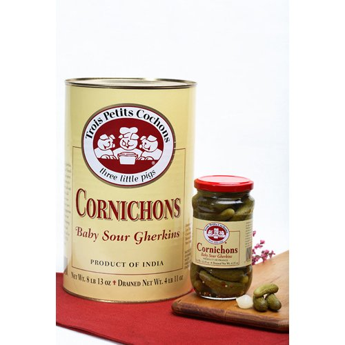 Cornichon, Baby Sour Gherkins, Canned - 8.81 Lb (Pack of 3)