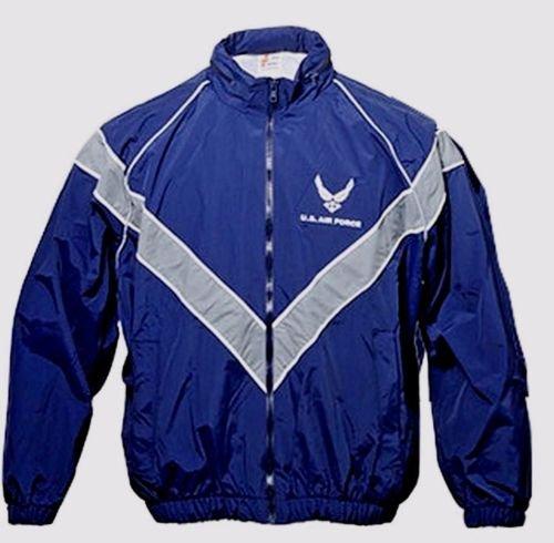 USAF Air Force Jacket Workout Jogging Windbreaker Blue Uniform Rain Coat PT USGI Size Medium - Pt Size
