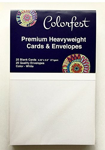 (Super Heavyweight 100lb Blank Greeting Cards by Colorfest Re-sealable Pack of 25 ready-scored foldable to A2 White Cards with Quality Envelopes for Card Making, Crafts & Art)
