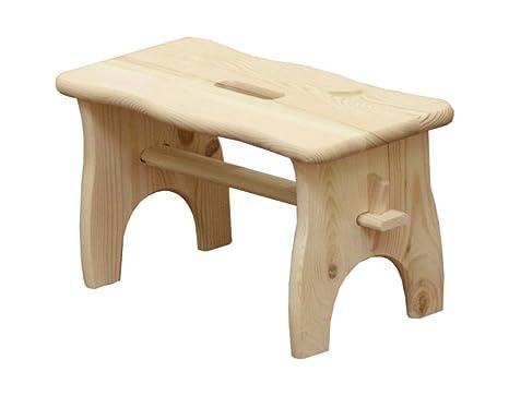 Qtimber 10003041 sgabello rettangolare in legno di pino naturale