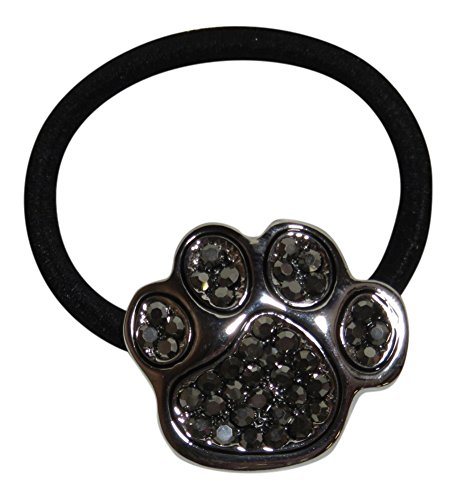 Rhinestone Paw Print Ponytail Holder Hair Accessory Sports Mascot (Hematite - Mascot Quality High Crystal