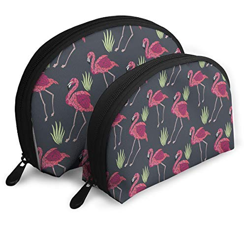 ElephantAN Flamingo Grass Cute-01.png Multifunction Shell Portable Bags,Storage Bag,Buggy Bag,Travel Cosmetic Bags,Small Makeup Clutch,Pouch Cosmetic,Toiletries Organizer Bag ()