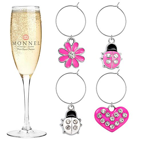 P403 Cute Pink Heart Ladybugs Flower Wine Charms Glass Marker for Party with Velvet Bag- Set of 4