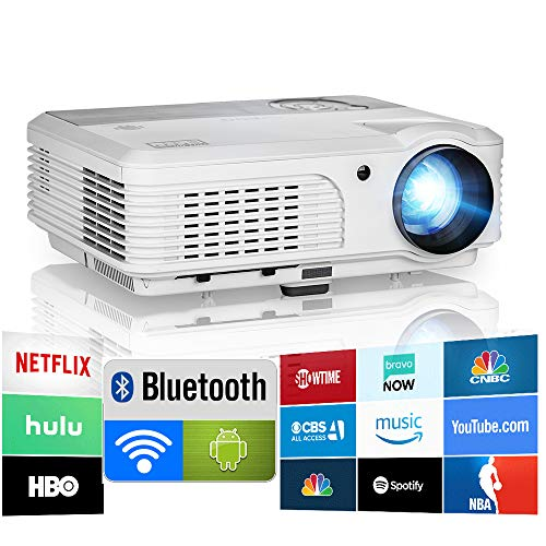 2019 Bluetooth Projector WiFi Android LCD LED Smart Video Projectors Home Theater 4400 Lumens Support HD 1080P Airplay HDMI USB RCA VGA AV for Smartphone DVD Game Consoles Laptop Outdoor Movie (For Outdoor Projector)