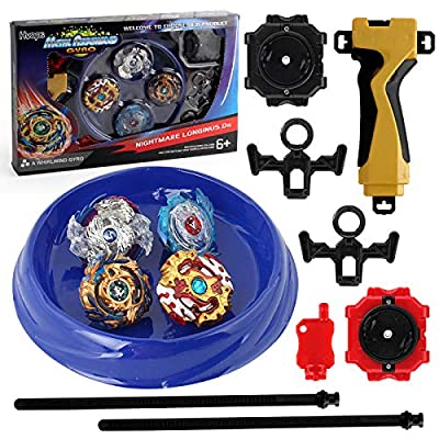 MVDIS_UP Bey Battle Gyro Burst Battle Evolution Metal Fusion Attack Set with 4D Launcher Grip Set 4 in1: Toys & Games