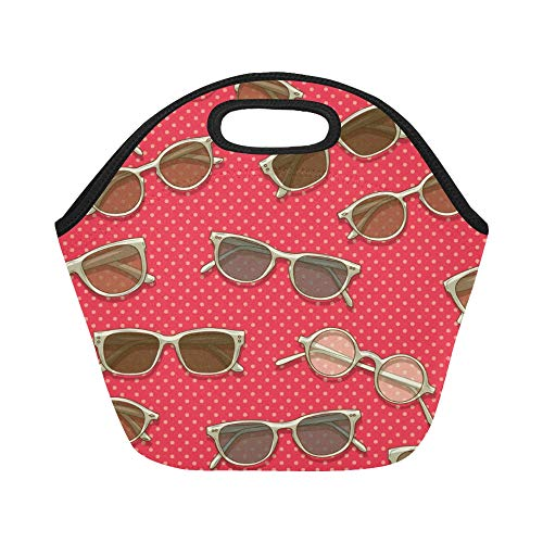 (Insulated Neoprene Lunch Bag Square Sunglasses Vintage Color Large Size Reusable Thermal Thick Lunch Tote Bags For Lunch Boxes For Outdoors,work, Office, School)
