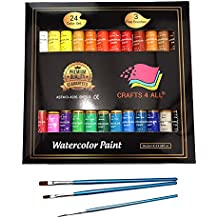 Watercolor Paint Set by Crafts 4 All 24 Premium Quality Art Watercolors Painting Kit for Artists, Students & Beginners - Perfect for Landscape and Portrait Paintings on Canvas (24x12ml) (24x12ml)