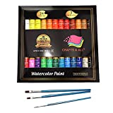 #1: Watercolor Paint Set by Crafts 4 All Premium Quality Art Watercolors Painting Kit for Artists, Students & Beginners - Perfect for Landscape and Portrait Paintings on Canvas (24x12ml) (24x12ml)