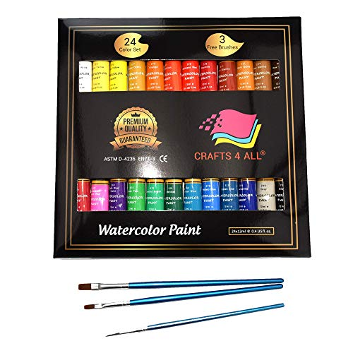 Watercolor Paint Set by Crafts 4 All Premium Quality Art Watercolors Painting Kit for Artists, Students & Beginners - Perfect for Landscape and Portrait Paintings on Canvas (24x12ml) (24x12ml) -