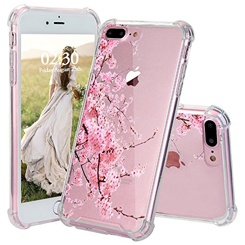 iPhone 7 Plus Case, JEXICASE Cherry Blossoms Girl Pattern Clear Shock Absorption Technology Bumper Hybrid Protective Cover Case for iPhone 7 Plus 5.5 Plus Inch