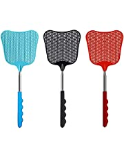 Extendable Fly Swatter, 3 Pcs Durable Heavy Duty Plastic Manual Swat Pest Swatter with Extendable Stainless Steel Handle, Retractable Fly Swatters for Office, Home, School, Swat Pest, Fly