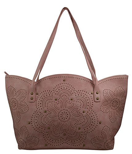 Women's / Girls Hippy Hobo Tote Multiple Designs on Canvas / Faux Leather Material Handbag (Blush Laser (Blush Hobo)