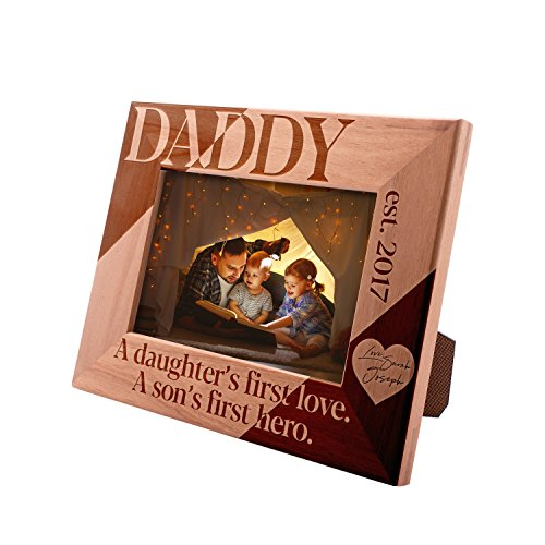 Personalized Picture Frame 4x6, Daddy - A Daughter's & Son's First Love, Custom Engraved Frame with Name & Year, New Dad Gift ()