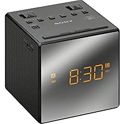 Sony Compact AM/FM Dual Alarm Clock Radio with Large Easy to Read Backlit LCD Display, Battery Back-Up, Adjustable Brightness Control, Programmable Sleep Timer, Black Finish