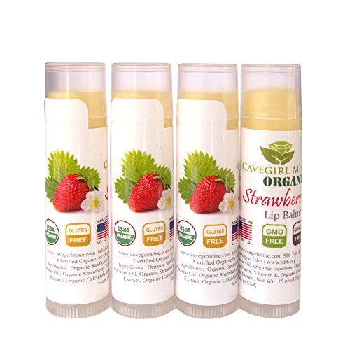 4-Pack Certified USDA Organic Lip Balm. CAVEGIRL MINE - Organic Strawberry Flavor. Made in USA. Paraben Free. GMO Free. Everyday use. Gluten Free. Deeply Moisturizes & Softens Chapped Dry Lips. ()