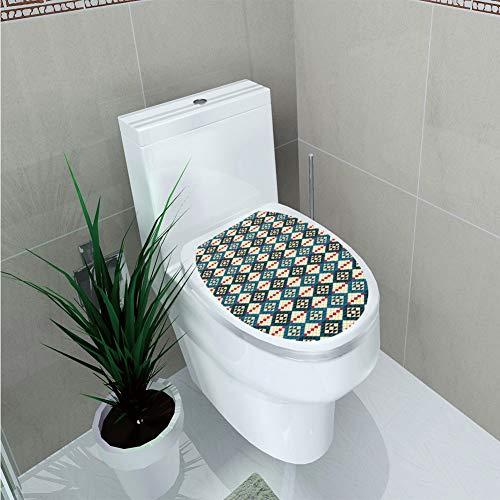 Toilet Cover Sticker,Native American Decor,Ethnic Braided Carpet View Mosaic Tribal Design,Custom Sticker,W12.6