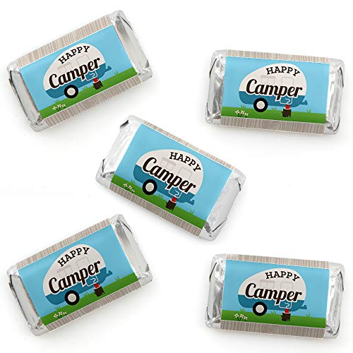 Happy Camper - Mini Candy Bar Wrapper Stickers - Camping Baby Shower or Birthday Party Small Favors - 40 Count