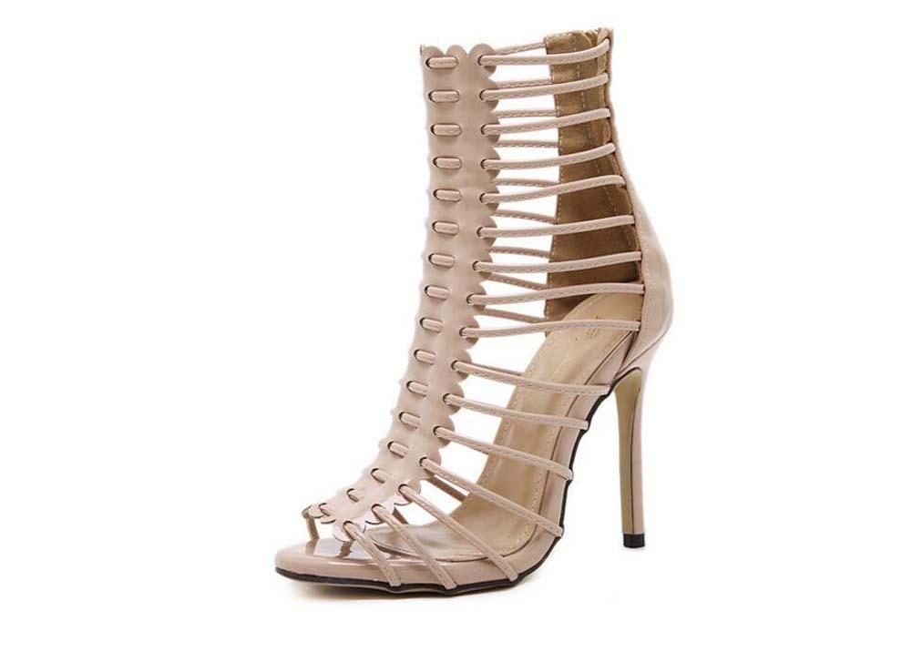 Botas frescas Gladiadores 11 cm Estilete Hueco romano De tacones altos Sandalias Zapatos De Vestir Mujer Moda Dedo del pie puntiagudo Peep Toe Cremallera Hueco romano Sandalias Zapatos de la Corte Zap Onfly