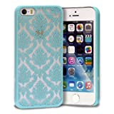 iPhone SE Case, GreatShield [TACT | Damask Design] Flower Pattern Snap On Case Embossed Back Cover for Apple iPhone SE / 5S / 5 (Teal)