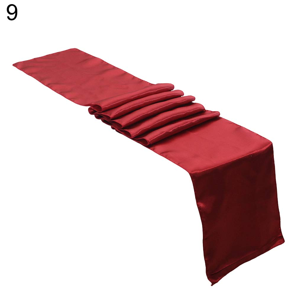 Dds5391 Refined Solid Color Wedding Reception Venue Party Banquet Event Table Runner Decoration - Wine Red