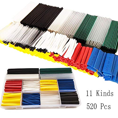 2:1 Heat Shrink Tube Tubing 11 Assortment Size Colored Tube Insulation Waterproof Polyolefin Tube for Electrical Industry Marine(Roll and Flat) by INCOME