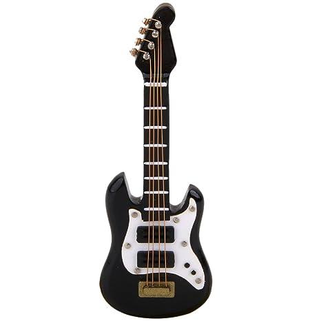 Cikuso 1/12 Instrumento Musical Guitarra Electrica en Miniatura para Casa de Muneca Negro
