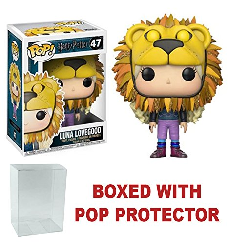 Harry Potter Luna Lovegood Lion Head Pop! Vinyl Figure and (Bundled with Pop BOX PROTECTOR CASE)
