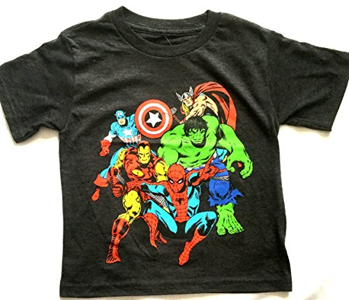 Boys Tee Shirt Marvel Mighty League Charcoal Gray Heather
